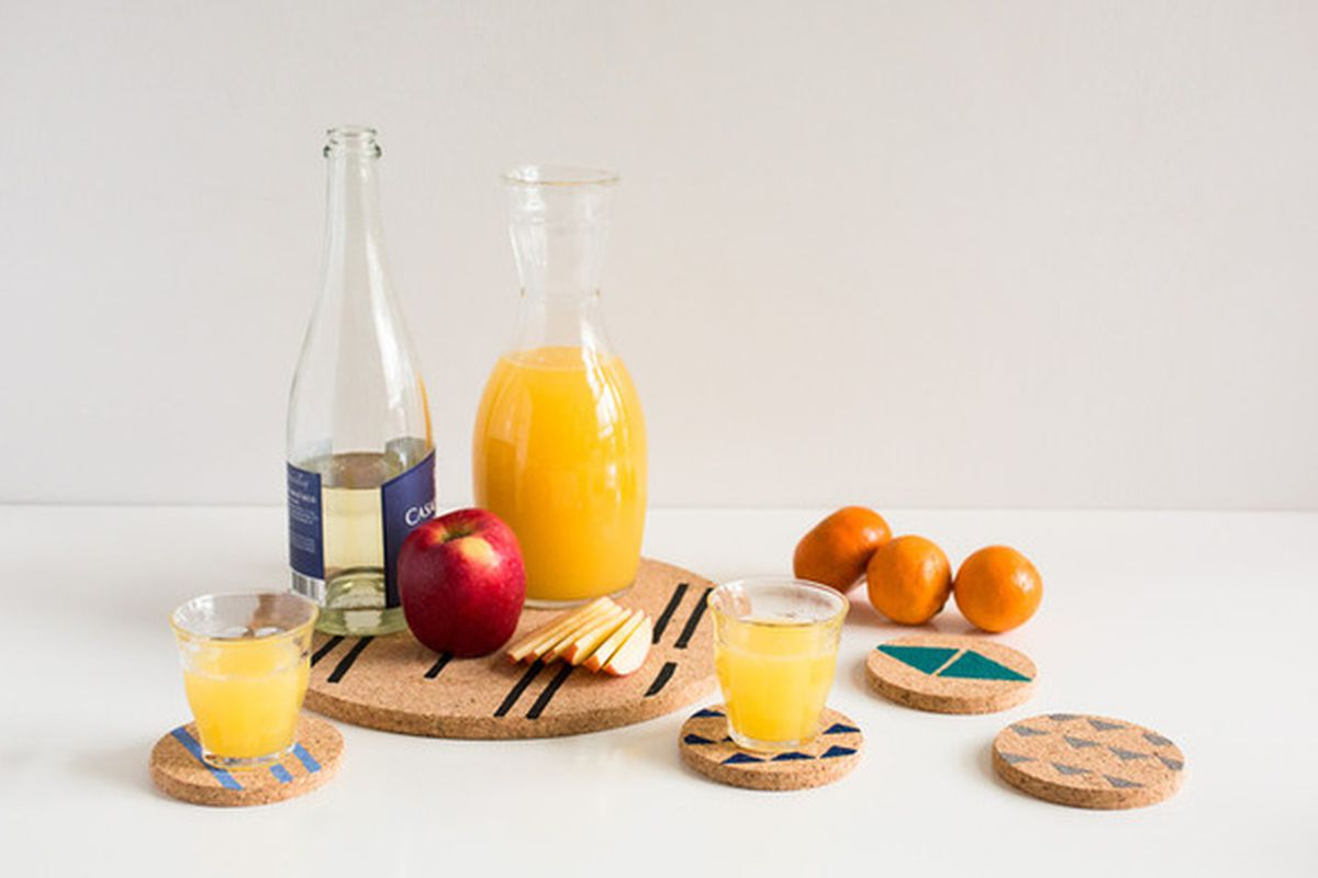 A block printed cork trivet and coasters set  Photo via Of a Kind. Super Bowl party ideas  decor tips for the last minute host   Curbed