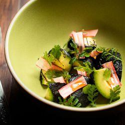 Grilled avocado, rhubarb, ember oil, mayo