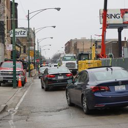 Only one lane of traffic open, due to concrete being poured on Clark Street