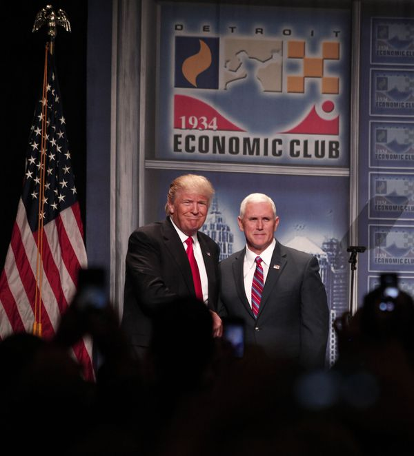Donald Trump at the Detroit Economic Club on Monday.