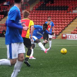Serge Atayaki opens the scoring for Rangers in their 3-2 win over Partick<br>