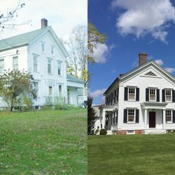 The exterior of the house, before and after renovation.