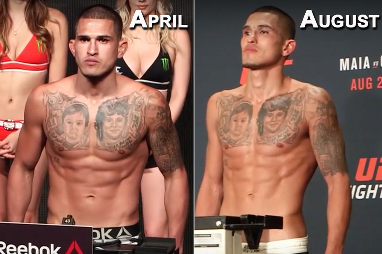 community news, Side by side pic: Anthony Pettis then and now following cut to 145 pounds at UFC on FOX 21 weigh ins