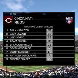 An MLB Network-branded look at the Cincinnati Reds lineup in <em>MLB 17</em>.