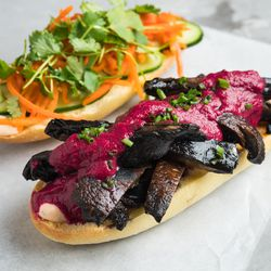 Num Pang's limited-time portabello mushroom sandwich with roasted beet vinaigrette