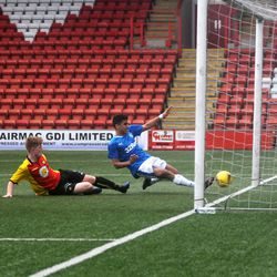 Amin Abaradan scores Rangers second goal in the 3-2 win over Partick<br>