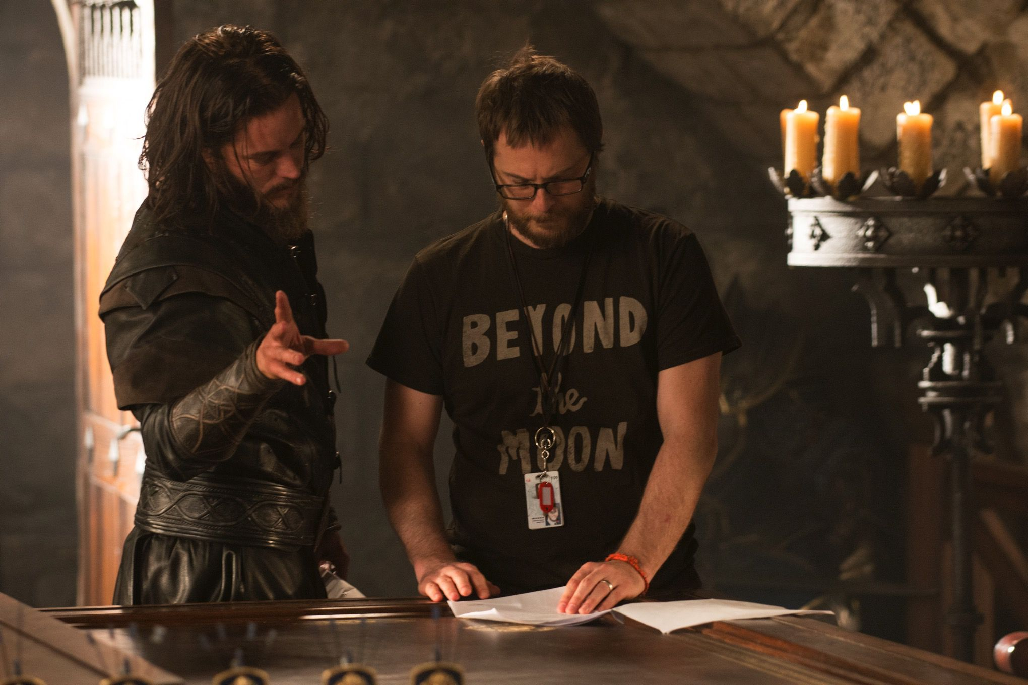 Travis Fimmell and Duncan Jones on the set of Warcraft