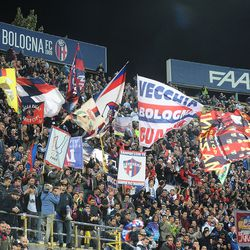 Supporters of Bologna FC attend the Serie A match between Bologna FC and FC Internazionale at Stadio Renato Dall'Ara on September 19, 2017 in Bologna, Italy.