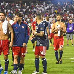 Shirts were swapped as the MLS side walked off the pitch post-match.