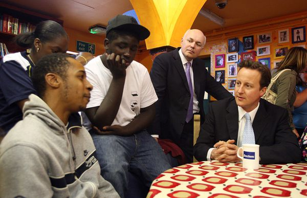 David Cameron and Iain Duncan Smith with a group of youths in 2007.