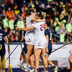 Kate Weeks celebrates with teammates