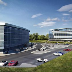 The new hotel, across the parking lot form the Porsche headquarters.