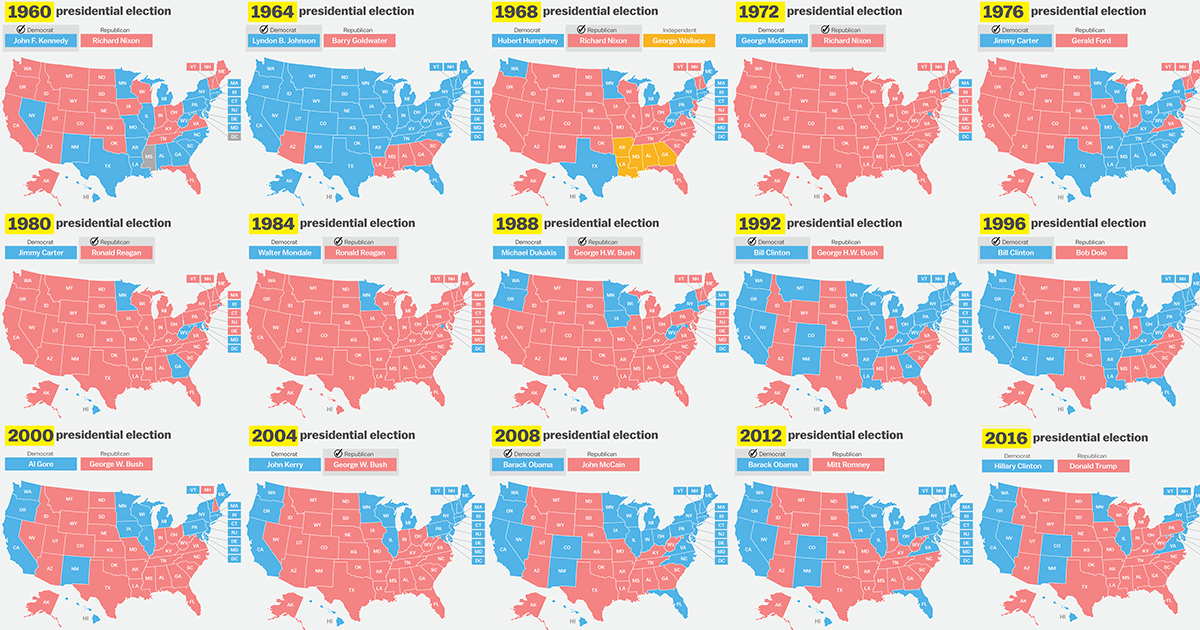 How Has Your State Voted In The Past Elections Vox - 1992 us electoral map