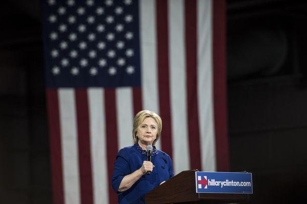 Clinton during a rally at the Javits Center on Wednesday.