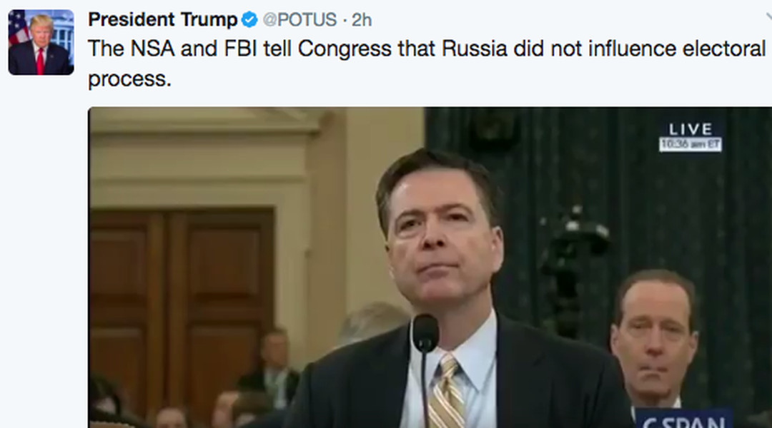 The president's official Twitter account is spreading falsehoods about the Comey hearing