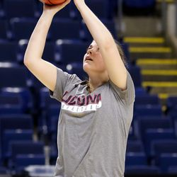 UConn's Kyla Irwin shoots during a drill during their Sweet 16 practice.<br>