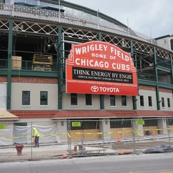 View of the Clark Street side, where pavement work is being done in front of the ballpark