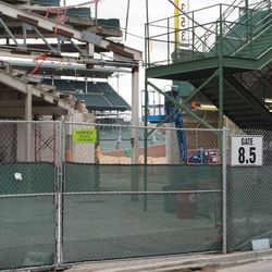 The equipment access opening to the field, still exposed in the right field corner