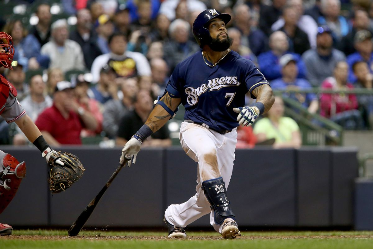 Brewers 1B Thames left the field in top of 8th