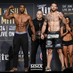 Phil Davis and Ryan Bader pose at Bellator NYC weigh-ins.