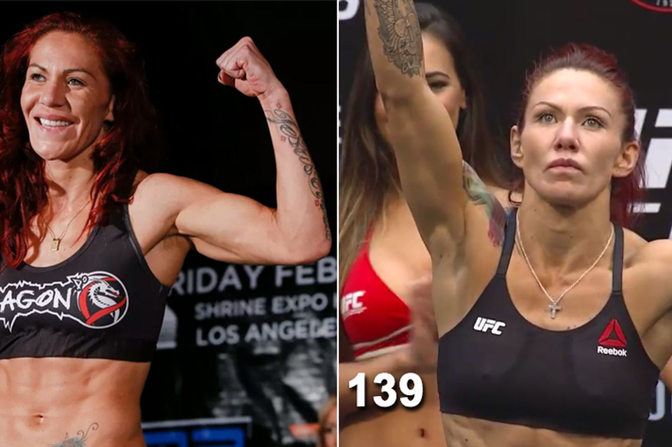 Side by side pic: Cris Cyborg before and after going down to 140 pounds from womens Featherweight