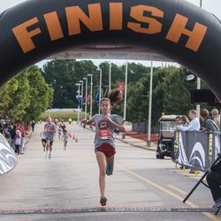 Womens winner Kristen Mills. September 10, 2017. Canes 5k benefitting the Carolina Hurricanes Kids 'N Community Foundation, PNC Arena, Raleigh, NC