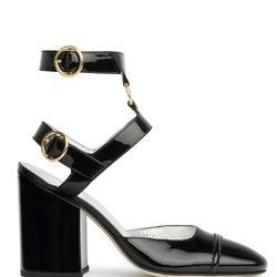 "<a href=""https://www.alexachung.com/row/ankle-strap-pumps-black-74"">Ankle Strap Pumps</a>, $540"