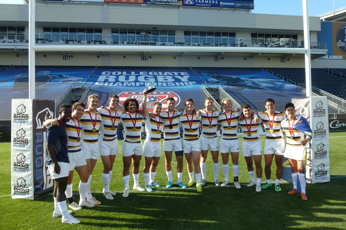 cal rugby wins collegiate rugby sevens championships photo the golden bears the championship trophy