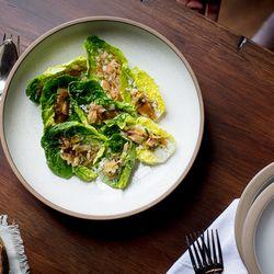 Little gem lettuces, bagna cauda of dried albacore, lovage cream