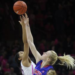 UConn's Gabby Williams tries to win the jump ball to start the game.