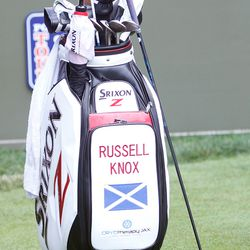 The golf bag of 2016 Travelers Championship champion Russell Knox at the 2017 Travelers Championship Pro-Am.<br>