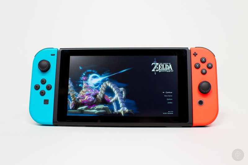 Nintendo Switch handheld mode with Zelda menu