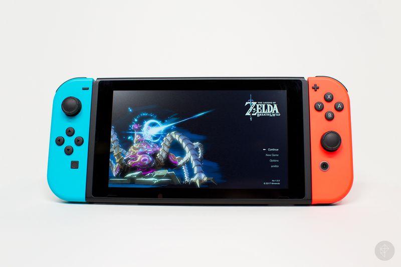 Nintendo Switch handheld mode with Zelda menu