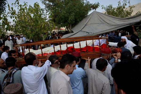 The funeral of one victim of Monday's suicide bombing.