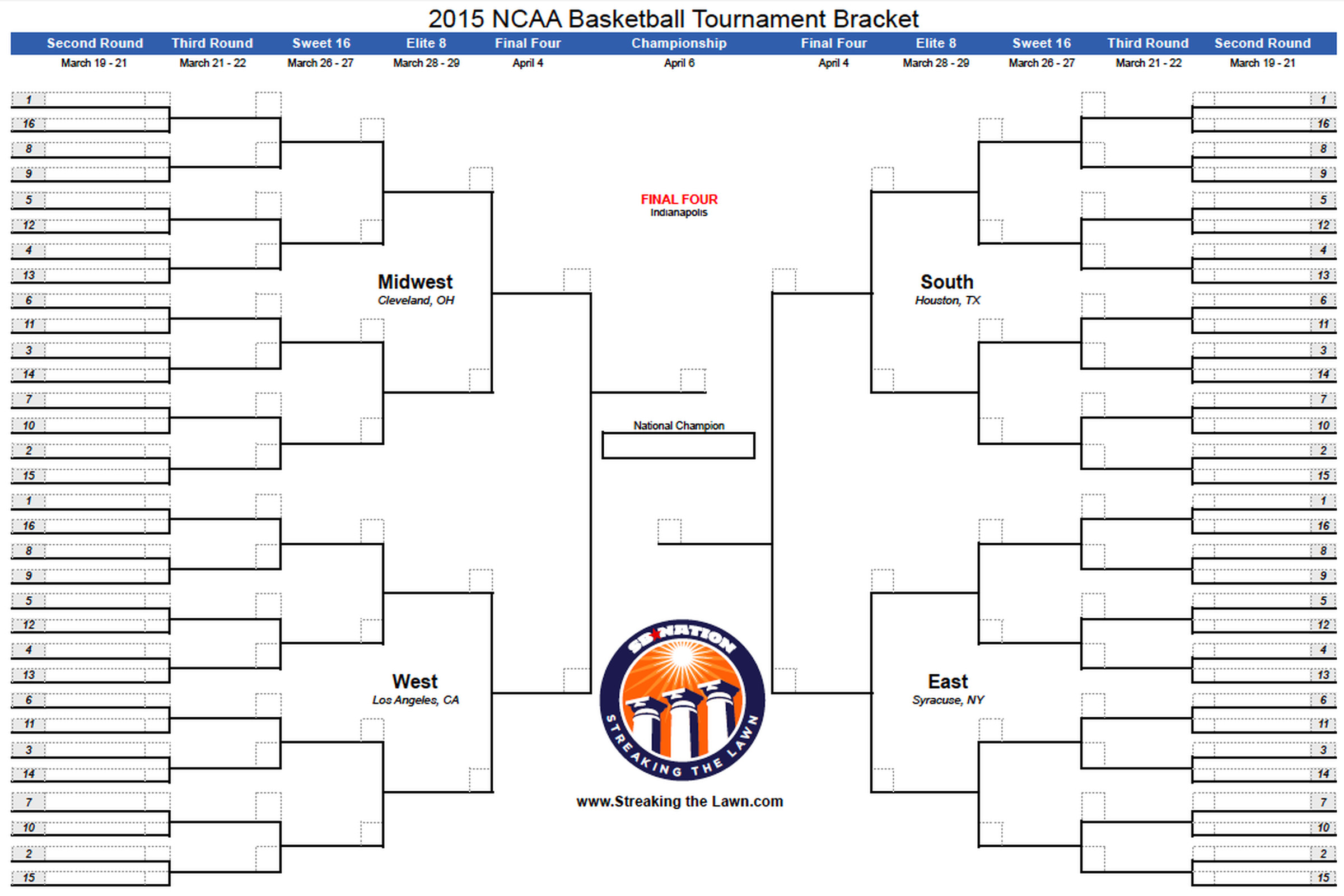 Ncaa Bracket 2015 Download Your Printable March Madness