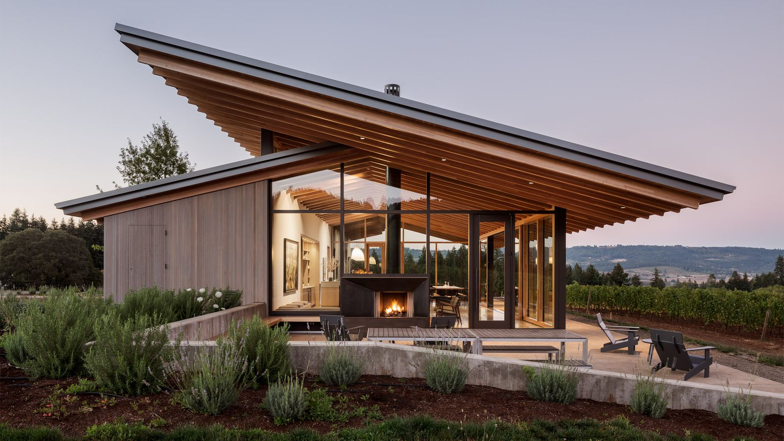 Wine tasting room goes sleek and minimalist in oregon curbed for Winery floor plans by architects