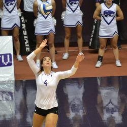 MANHATTAN - K-State sophomore Sarah Dixon winds up to serve during a match against Arkansas Aug. 31, 2017.