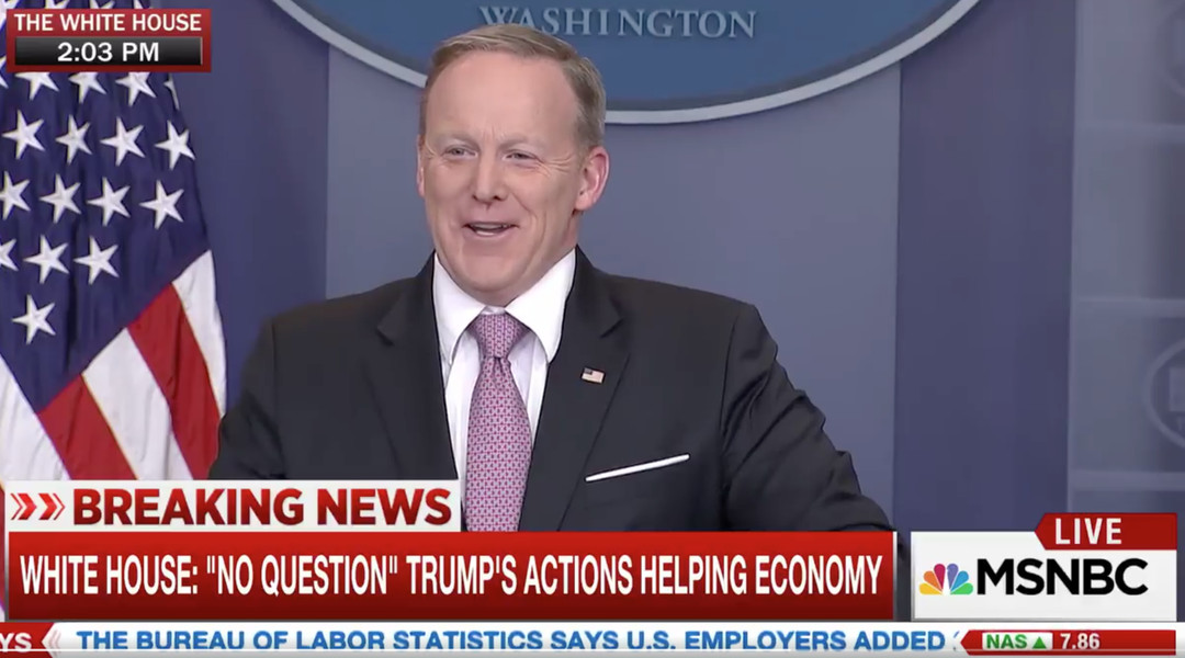 Sean Spicer's appalling answer about economic data shows how far we've lowered the bar for Trump