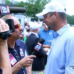 Fox 61's Bob Rumbold interviews former Red Sox star Tim Wakefield at the 2017 Travelers Championship Pro-Am.<br>