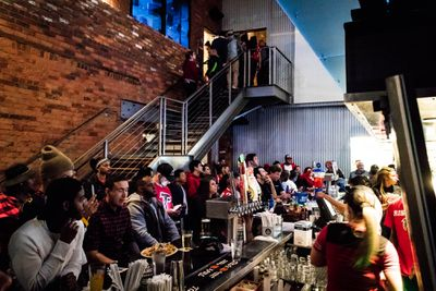 Falcons fans watch the Super Bowl at Stats.