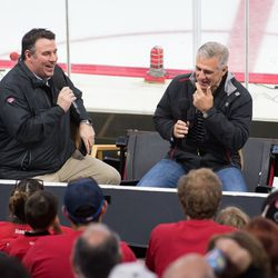 Mike Maniscalco interviews general manager Ron Francis. July 1, 2017. Carolina Hurricanes Summerfest and Development Camp, PNC Arena, Raleigh, NC. Copyright © 2017 Jamie Kellner. All Rights Reserved.