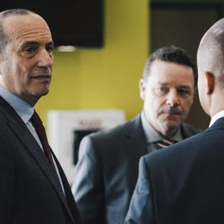 Don Garber talks with Union Sporting Director Earnie Stewart and Academy Director Tommy Wilson