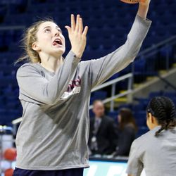 UConn's Katie Lou Samuelson goes in for a layup during a drill during their Sweet 16 practice.<br>