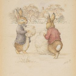 """<a href=""""http://lucasmuseum.org/works/detail/asset_id/768"""">Building a Snowman (c. 1893)</a> by <a href=""""http://lucasmuseum.org/collection/category/childrens-art#"""">Beatrix Potter</a>"""