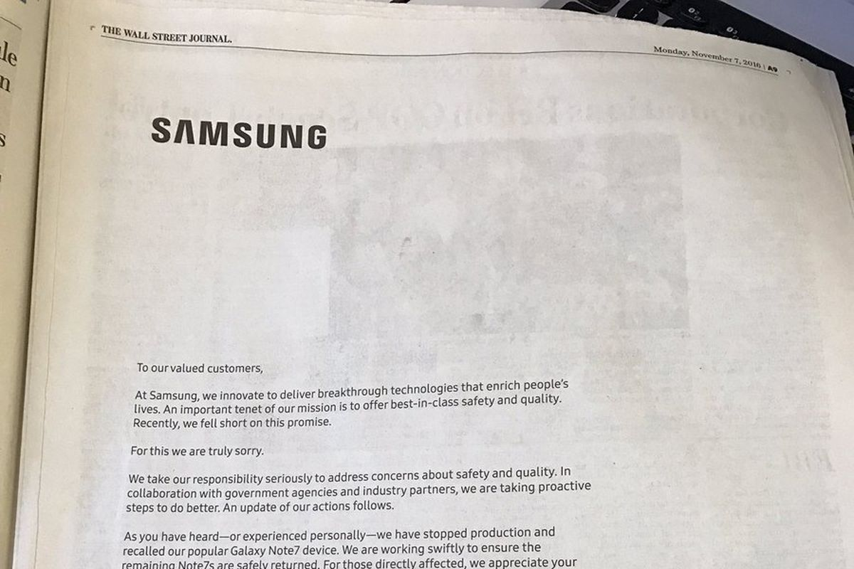 samsung runs full page apology ads over galaxy note recall the rurik bradbury