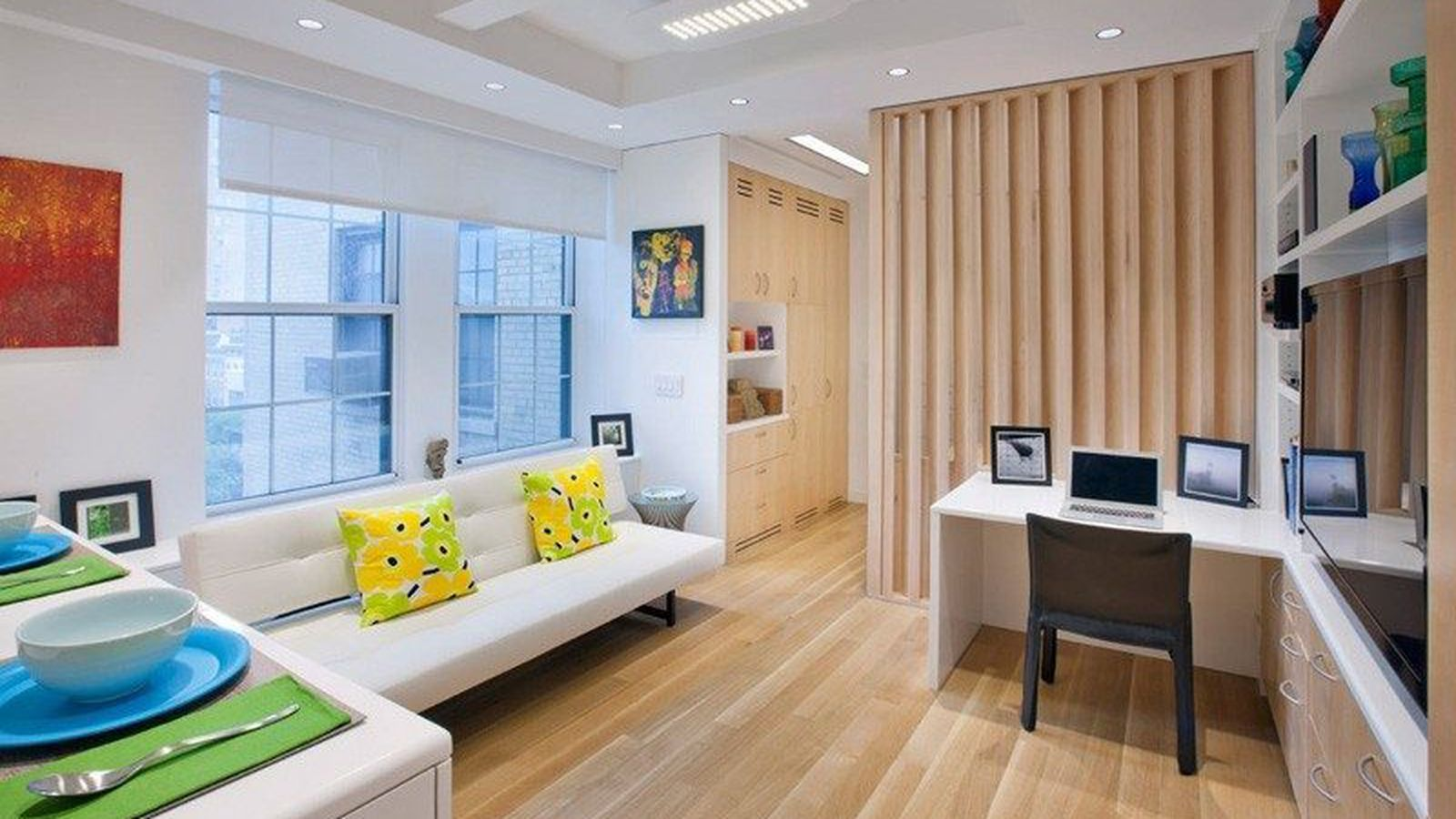 how to fit 5 rooms in a 340 square foot nyc apartment curbed ny. Black Bedroom Furniture Sets. Home Design Ideas