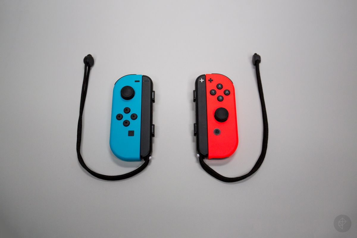 Nintendo Switch Joy-Con controllers with wrist straps attached