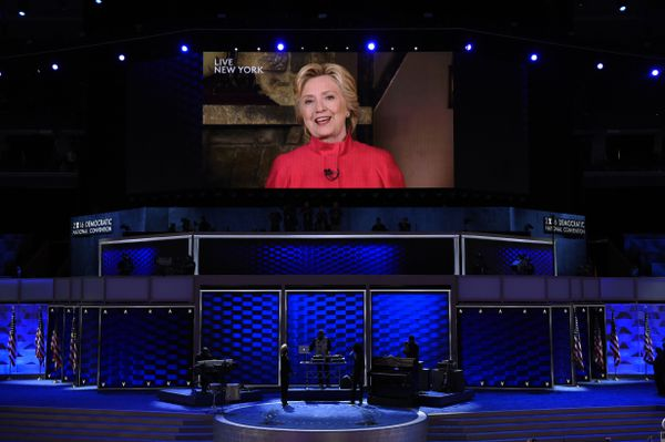 Hillary Clinton addresses the convention on Tuesday night.