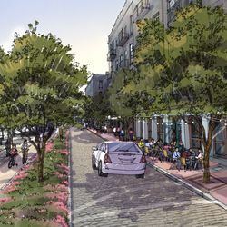 """The """"coastal"""" option replaces the streetcar line with trees."""