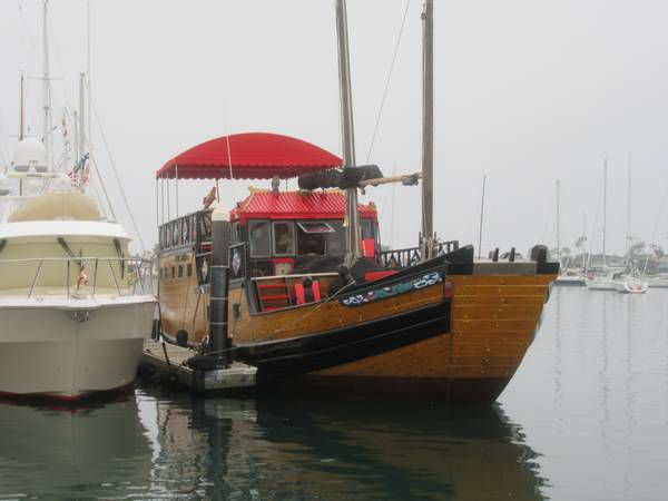 Chinese-style boat docked
